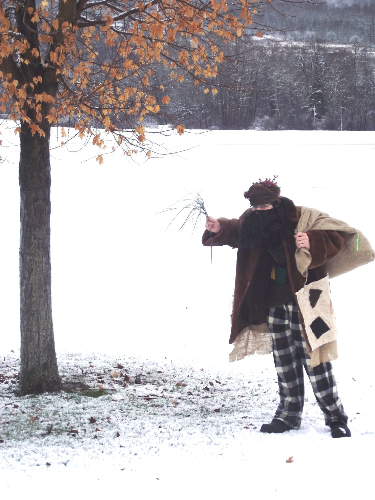 Belsnickel brandishing his twigs